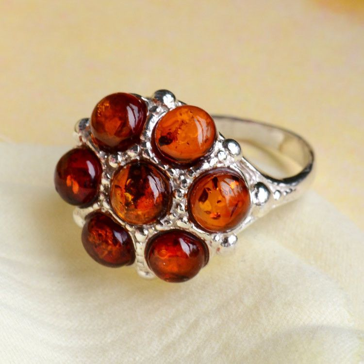 Honey Amber Flower Ring