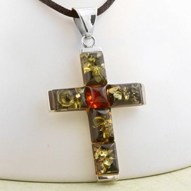 Green Amber Unisex Cross Pendant