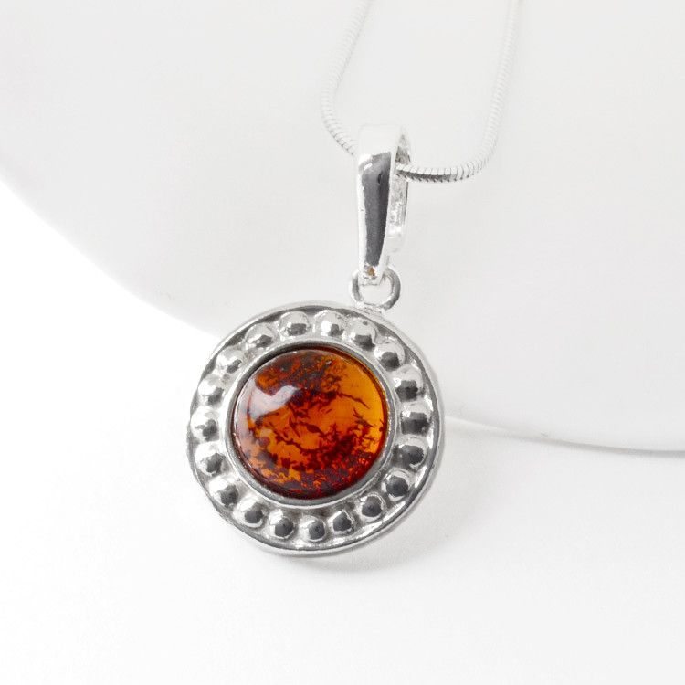 Round Amber & Silver Pendant