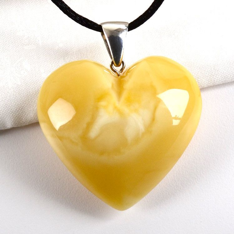 Giant Baltic Butterscotch Amber Heart