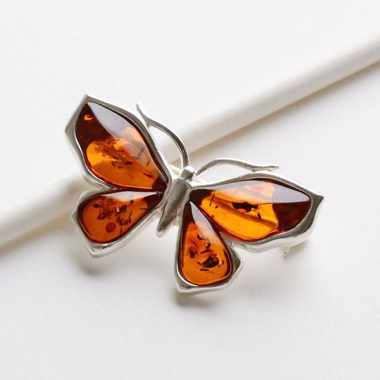 Amber in Silver Butterfly Brooch