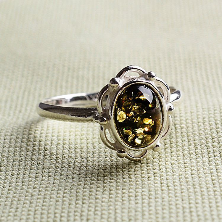 Green Victorian Amber Ring