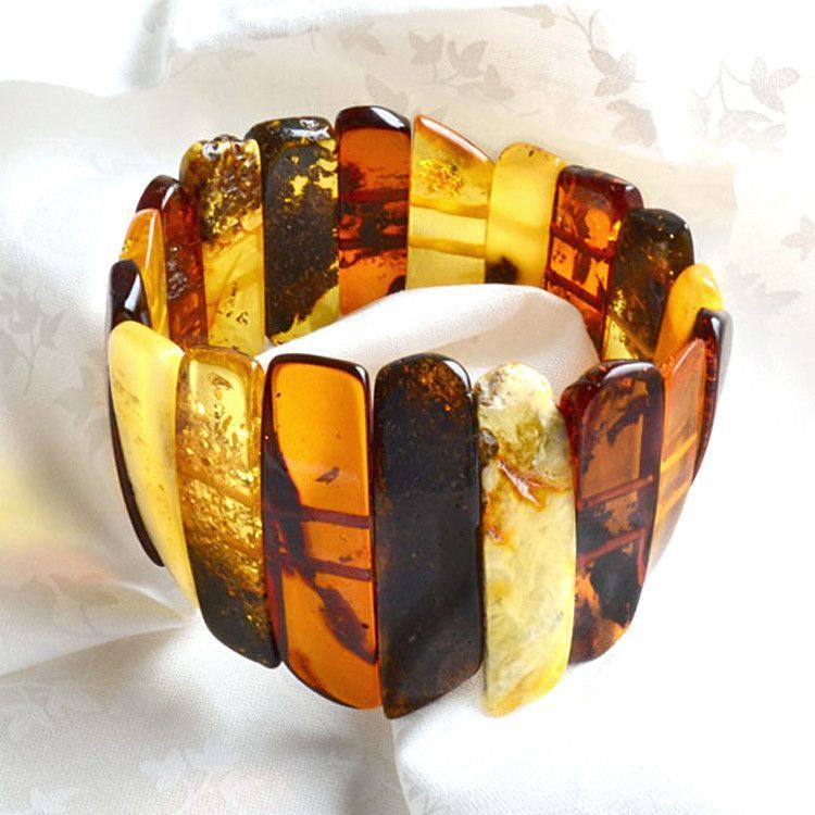 Multi-Stone Amber Stretch Bracelet