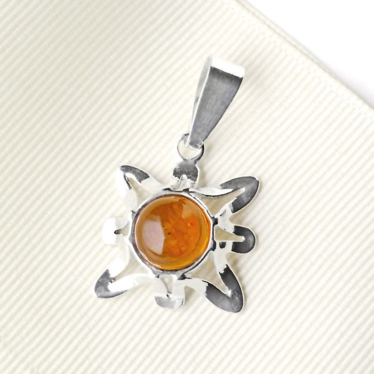 Silver & Amber Abstract Flower