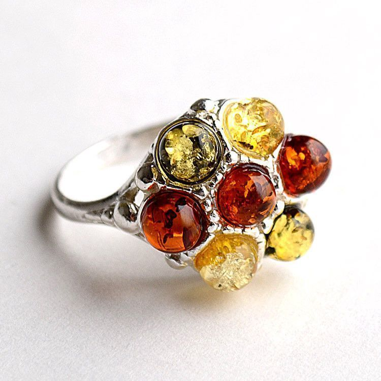 Multi-Colored Amber Cocktail Ring