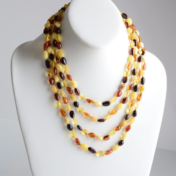 Extra Long Beaded Amber Necklace
