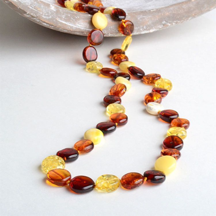 Multi-colored Amber Dots Necklace