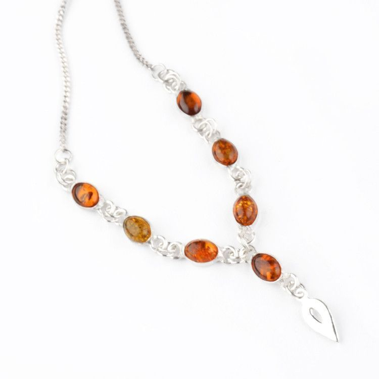 Delicate Multi-color Amber Necklace in Silver