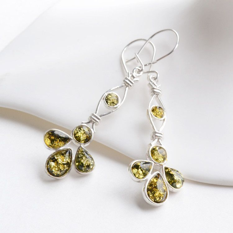 Five Stone Green Amber Earrings