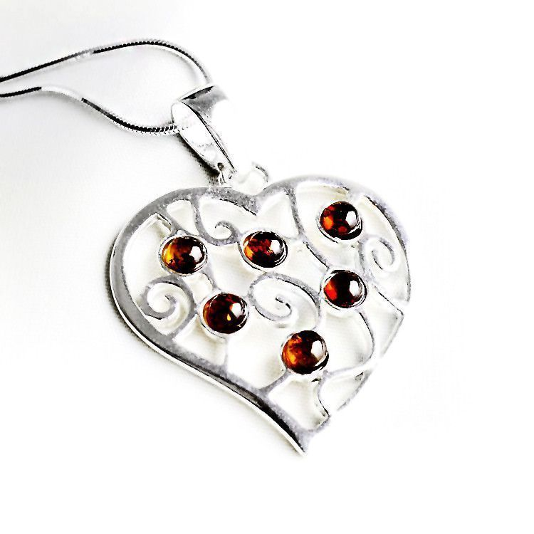 Honey Amber in Silver Heart Pendant