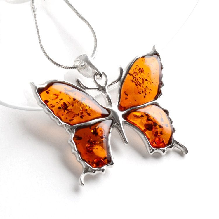 Honey Amber Butterfly Pendant