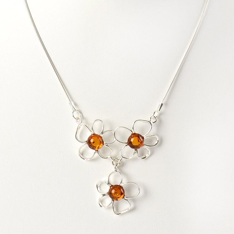3 Flower Amber & Silver Necklace