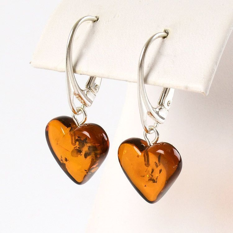 Small Simply Stunning Amber Heart Earrings