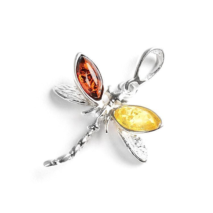 Dragonfly Pendant - Amber & Silver