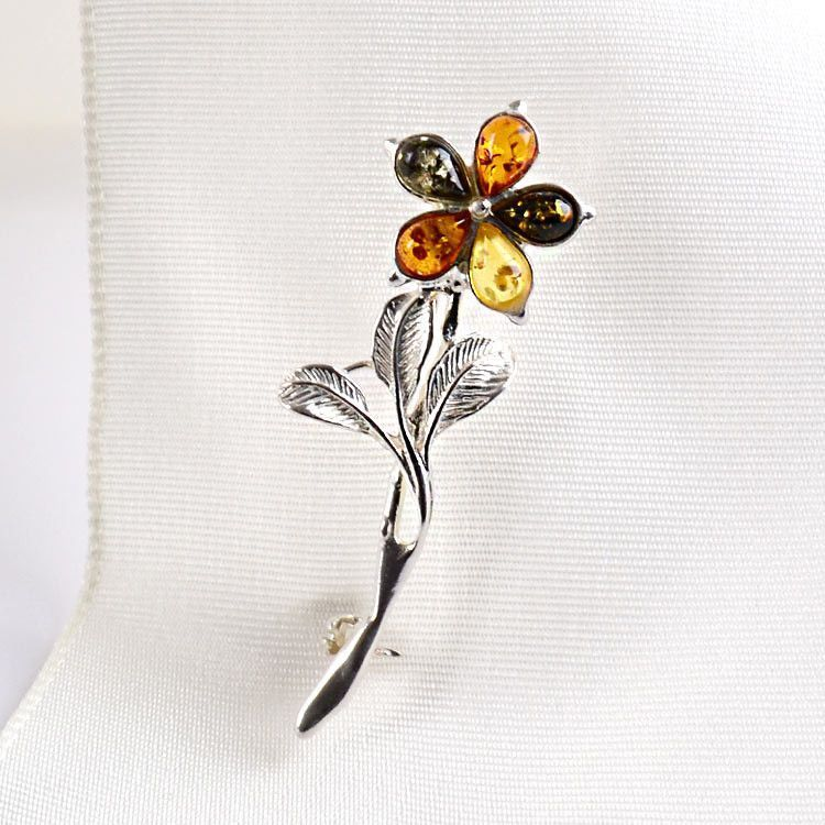 Colorful Amber Flower Pin