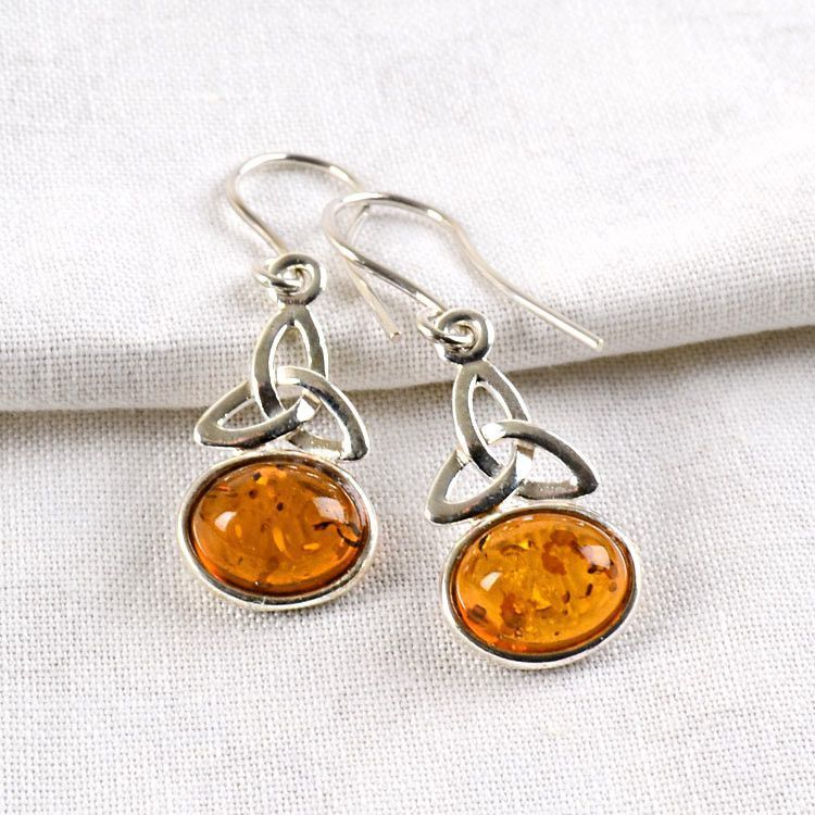 Celtic Trinity Knot & Amber Earrings