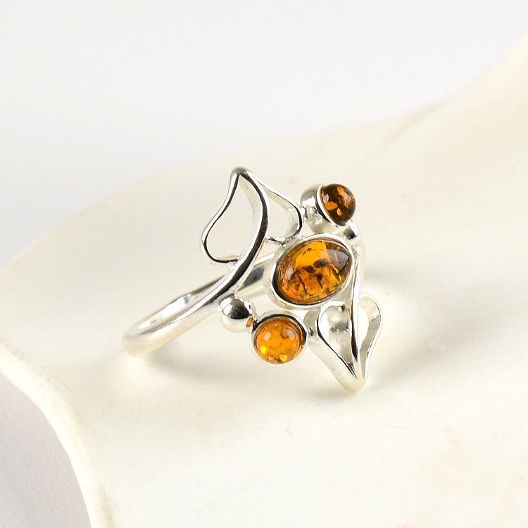 Delicate Heart Amber Ring