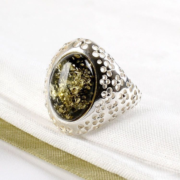 Silver & Green Amber Oval Ring
