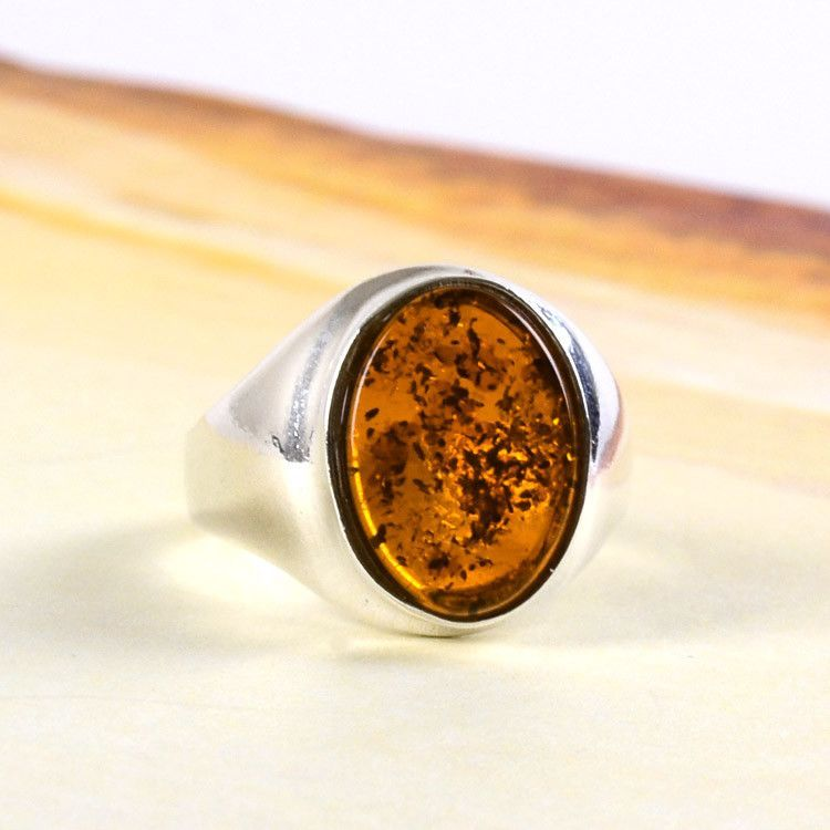 Bold Honey Amber Oval Ring