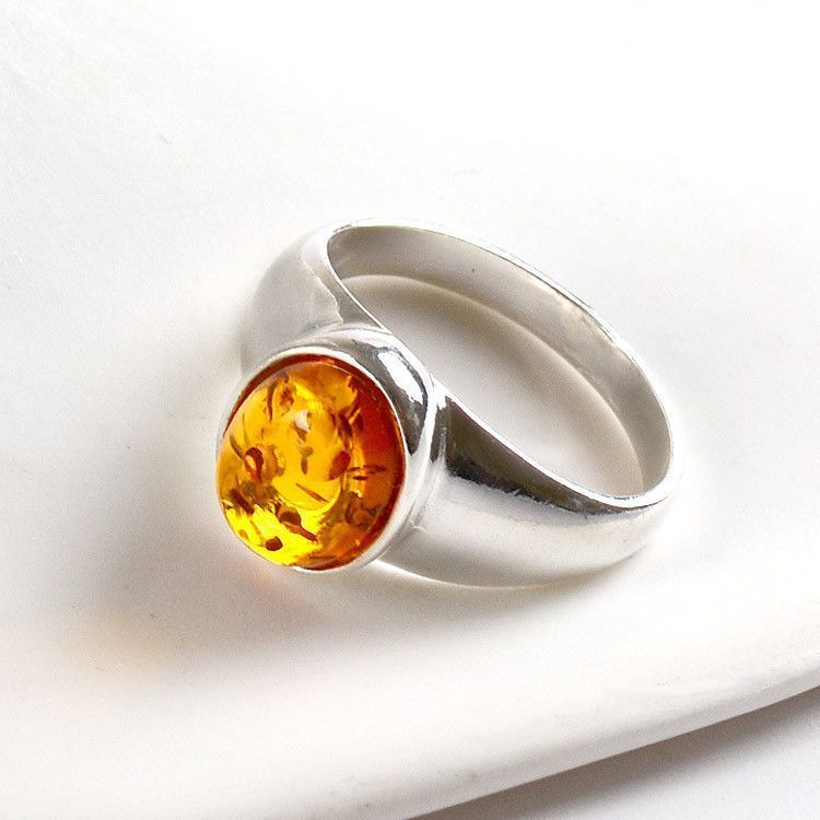 Baltic Honey Amber Simplicity Ring