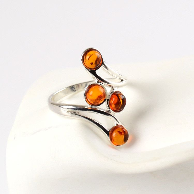Delicate Amber Dots Ring