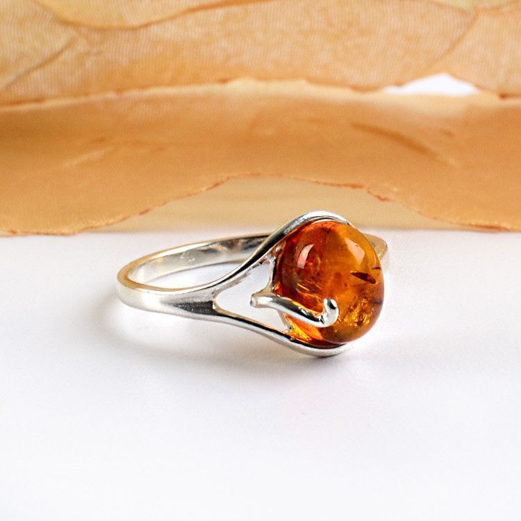 Honey Amber & Silver Ring