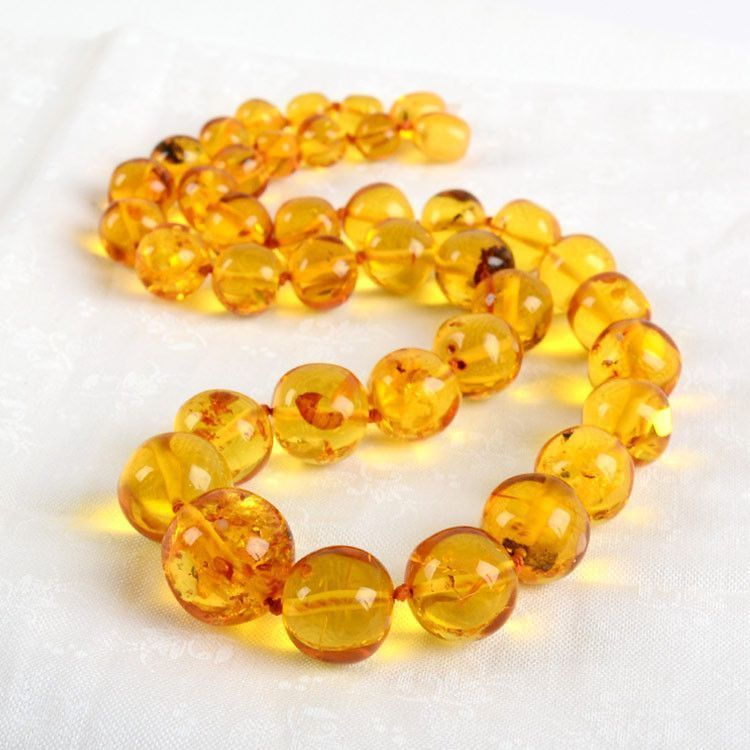 Natural Round Honey Beads Necklace