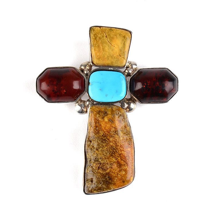 As-is One-of-a-kind Vintage Amber Cross Pendant