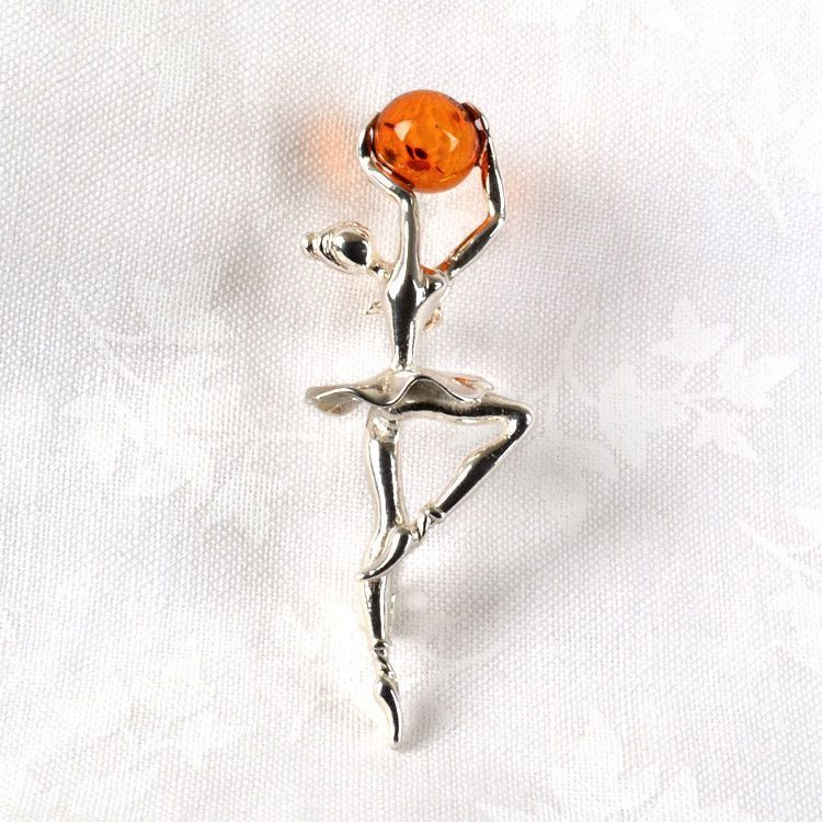 Ballerina Pin with Amber Stone