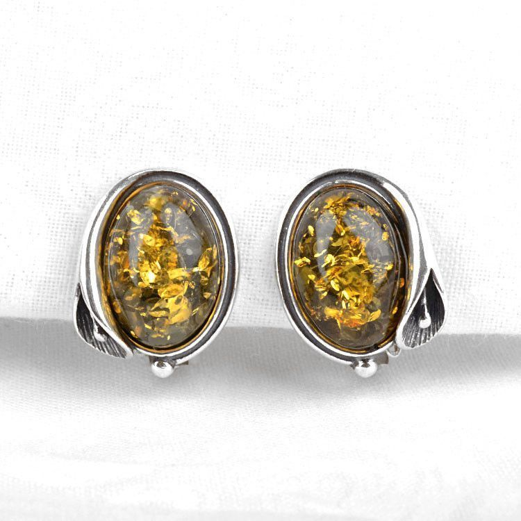 Green Amber Clip-On Earrings