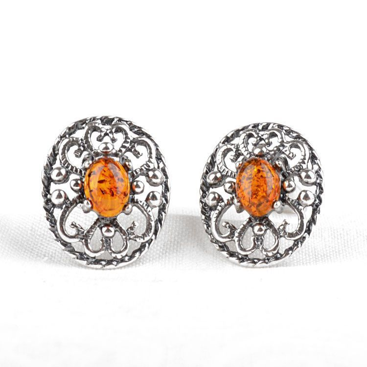 Dainty Amber & Silver Clip On Earrings