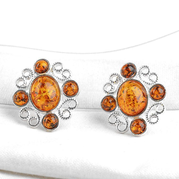 Honey Amber Earrings - Clip On