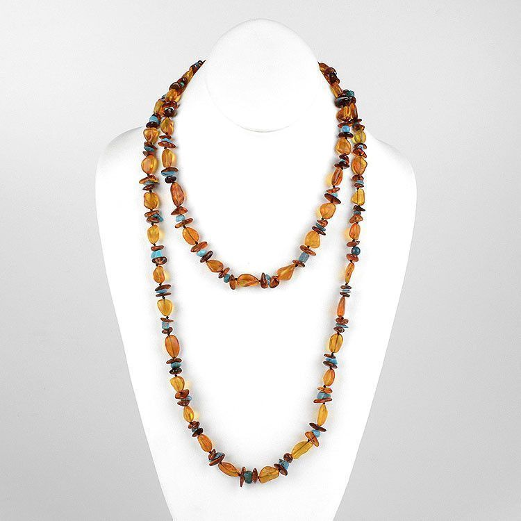 "48"" Amber Turquoise Nuggets & Chips Necklace"