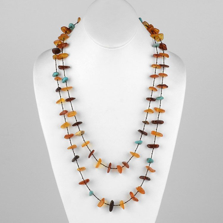 Floating Nuggets of Amber & Turquoise