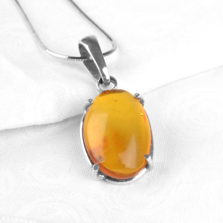 Amber Oval with Insect Pendant