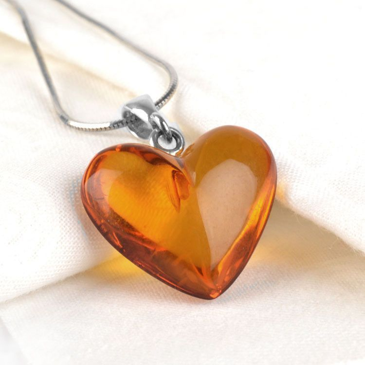 Clear Honey Amber Heart Pendant