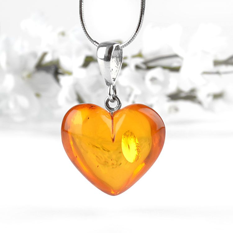 Lovely Amber Heart Pendant