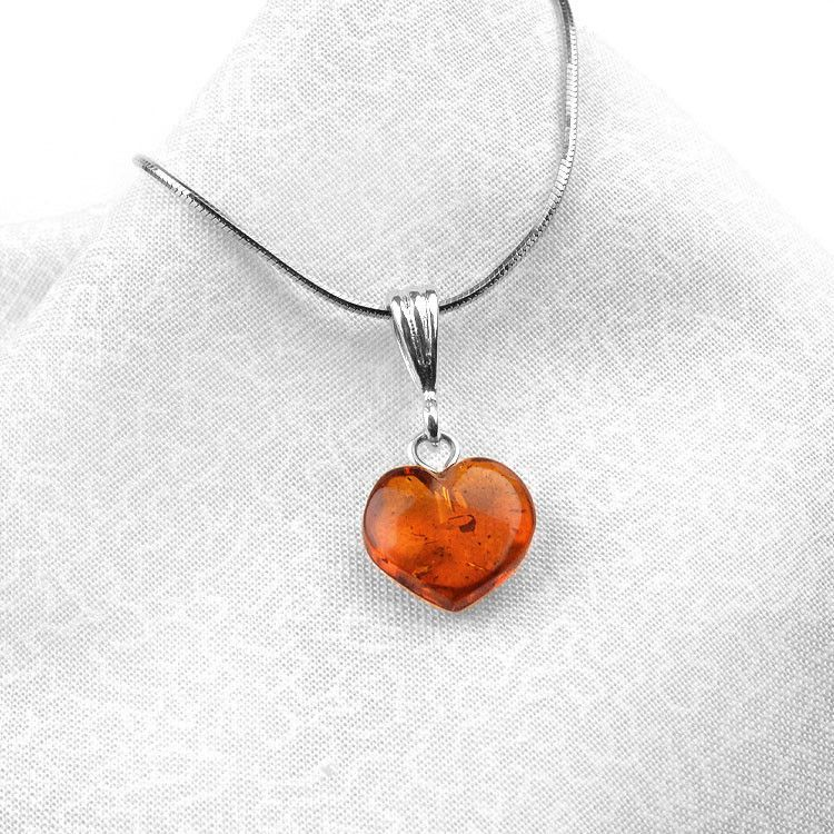 Small Simple Amber Heart Pendant