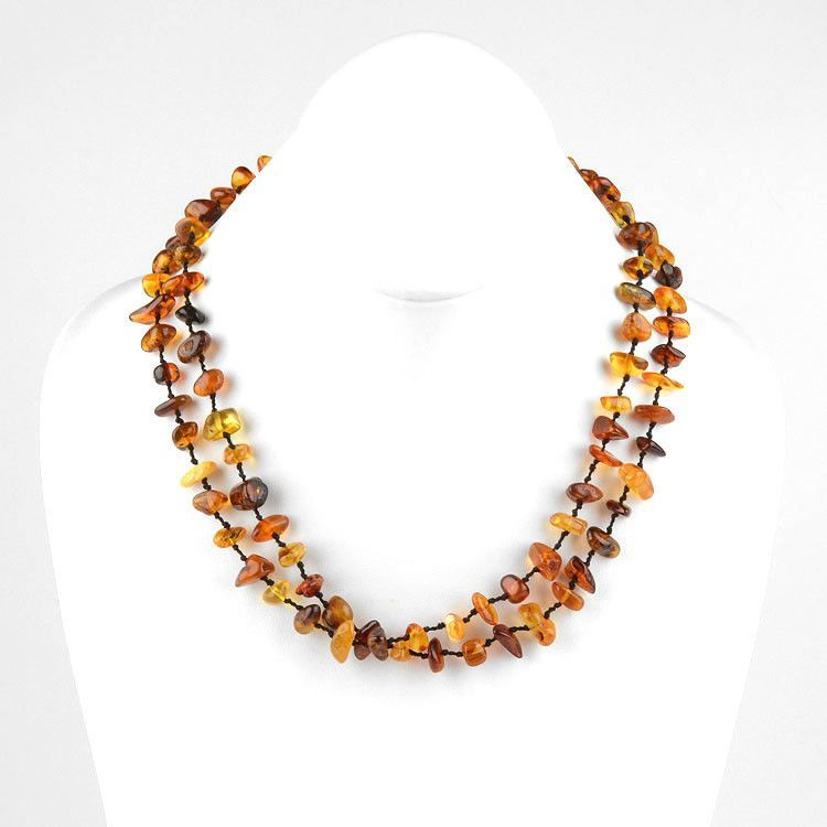 Natural Double Knotted Nuggets Amber Necklace-38 in