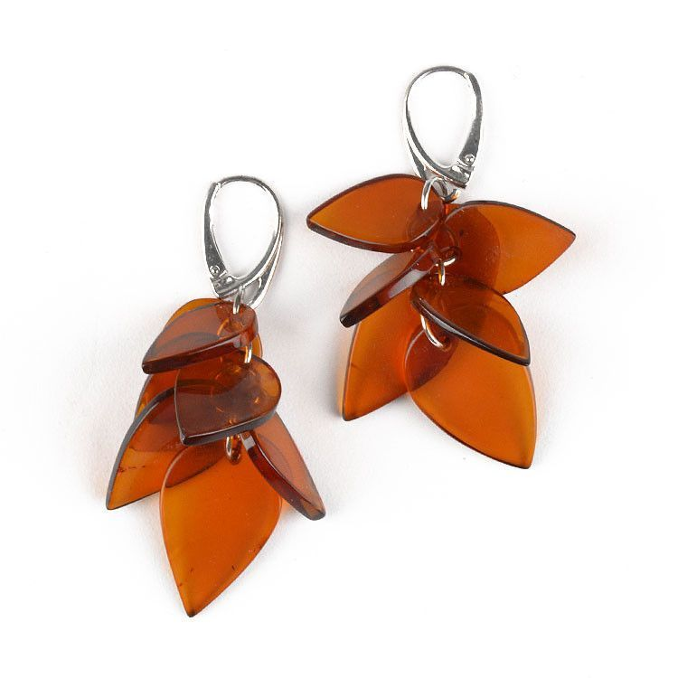 Dangling Honey Amber Chips Earrings
