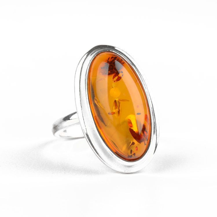 Glowing Oval Honey Amber Ring