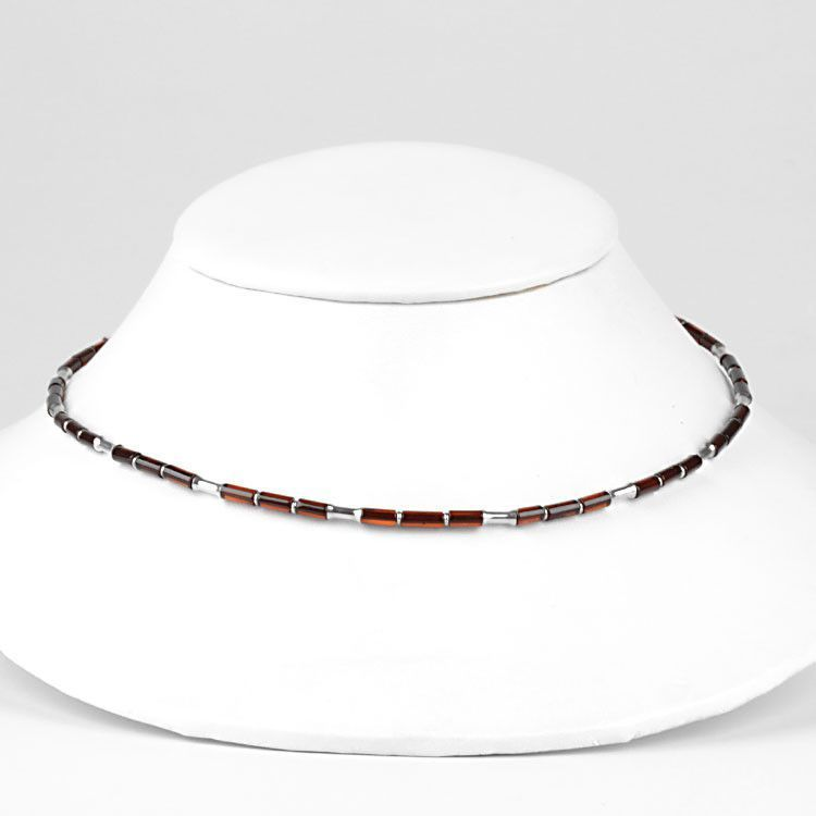 Amber & Silver Choker Necklace