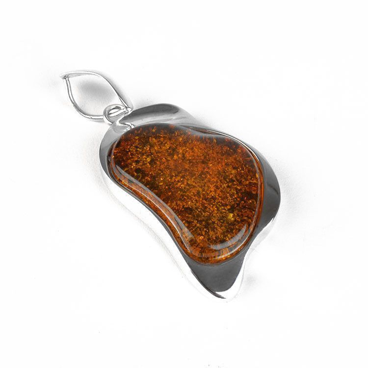 Unique Amber in Silver Pendant