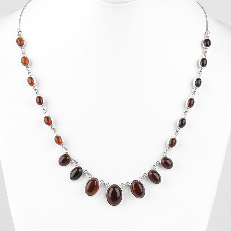Ovals of Cherry Amber Necklace