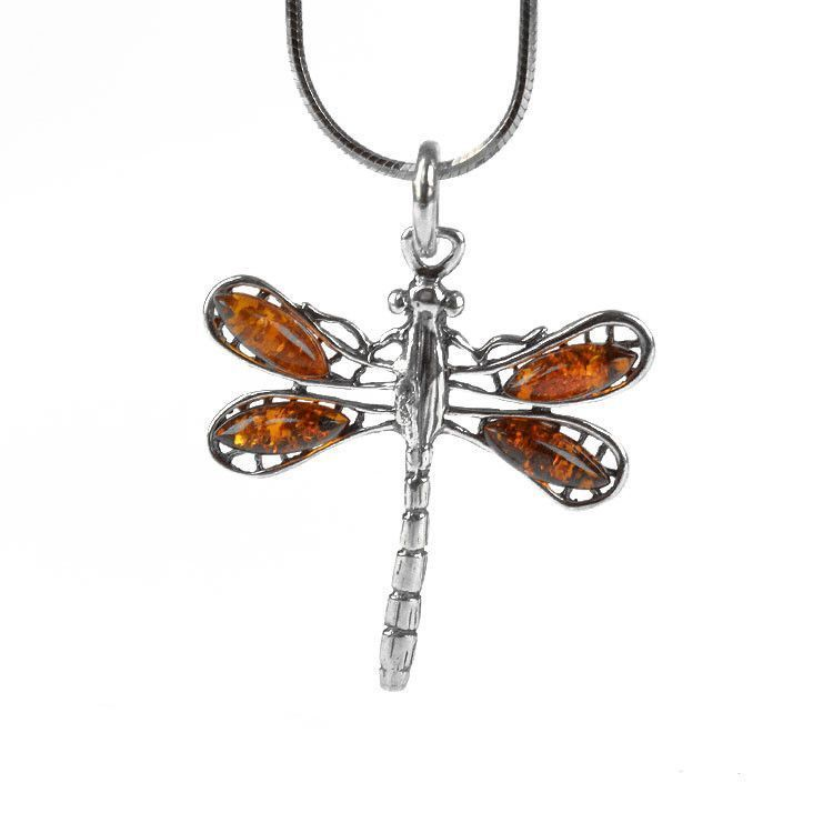 Dragonfly Pendant with Amber Wings