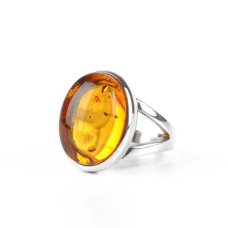 Honey Amber Classic Oval Ring