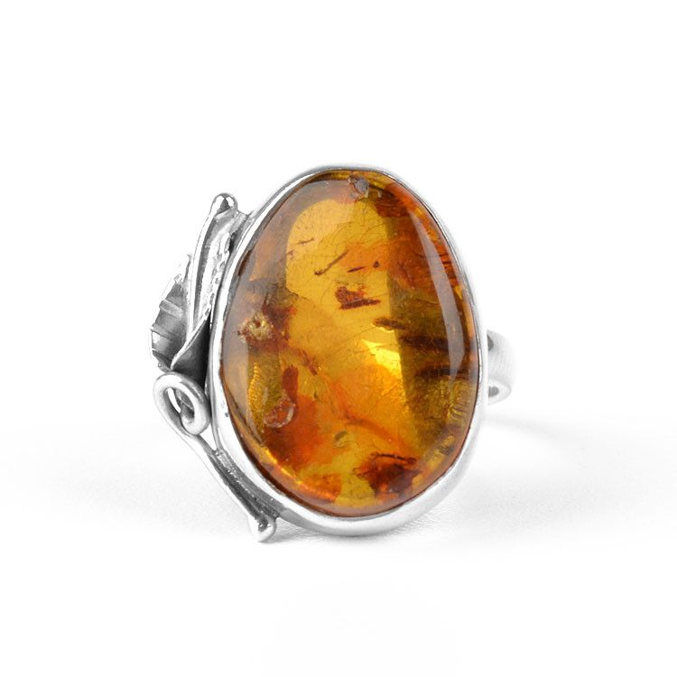 Unique Amber Silver Leaf Ring