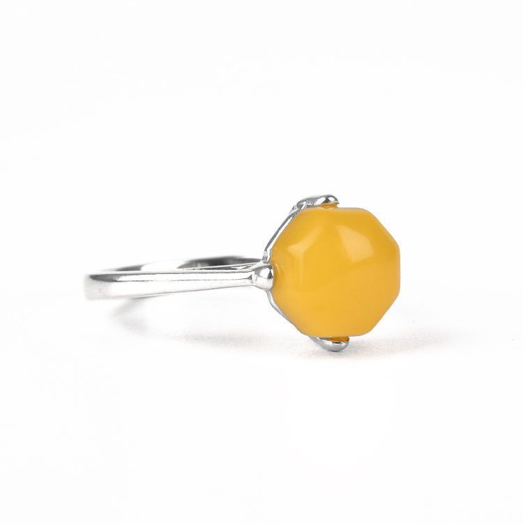 4 Prong High Setting Ring - Butterscotch Amber