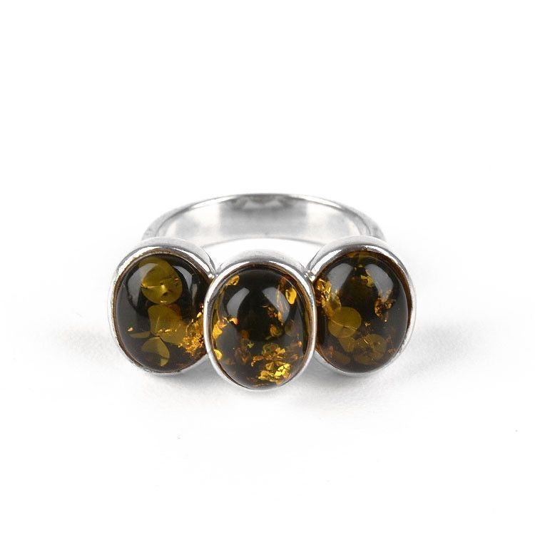 Three Green Amber Stones Ring