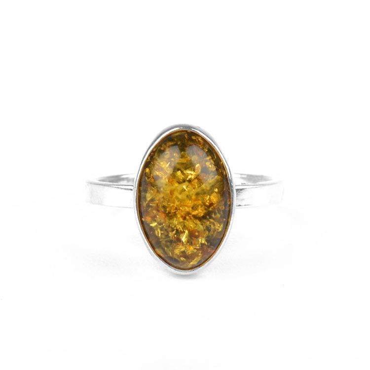 Simple Oval Green Amber Ring